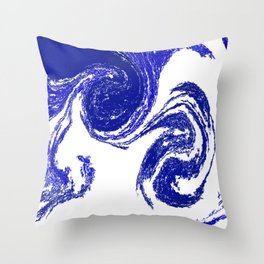 Rolling Blue Throw Pillow