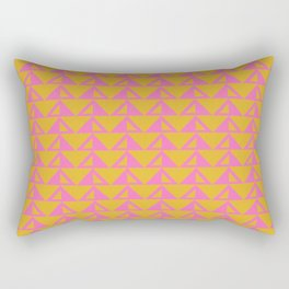 Geometric Triangle Pattern in Sunny Yellow and Neon Pink Rectangular Pillow