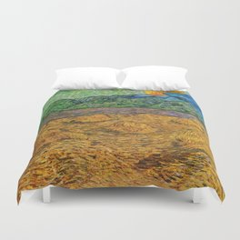 Evening Landscape with Rising Moon by Vincent Van Gogh Duvet Cover