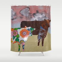 cows Shower Curtains featuring Two Cows by Chuck Buckner