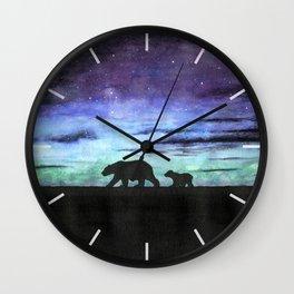 Aurora borealis and polar bears (black version) Wall Clock