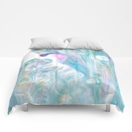 Pastel Blue Flows - Abstract Acrylic Art by Fluid Nature Comforters