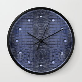 Cobalt Alligator Print Wall Clock