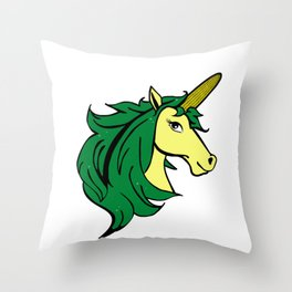 Cartoon Unicorn on the Cob. Cornstalk pun Throw Pillow