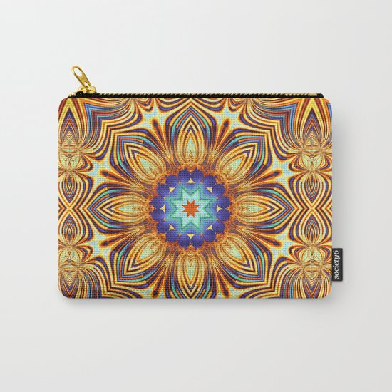 Kaleidoscope abstract with a flower shape and tribal patterns Carry-All Pouch