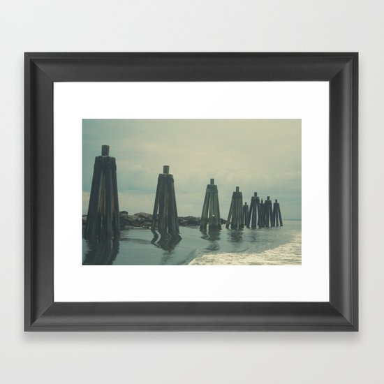 Ferry Dock Haze Framed Art Print