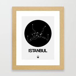 Istanbul Black Subway Map Framed Art Print