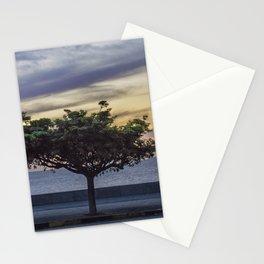 Sunset Scene at Boardwalk in Montevideo Uruguay Stationery Cards