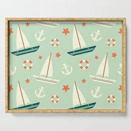 cute colorful sailboat pattern with anchor and lifebuoy Serving Tray