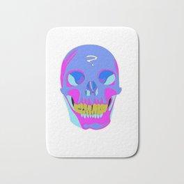 Neon Pixel Psychaedelic Halloween Skull  Bath Mat