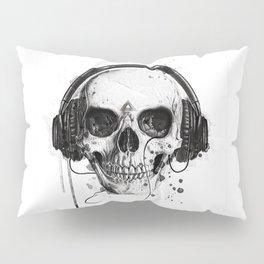 Skull in Headphones Pillow Sham