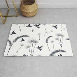 Floral dandelion pattern with flowers and birds Rug