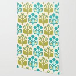 Mid Century Garden Flower Pattern Turquoise Chartreuse Wallpaper