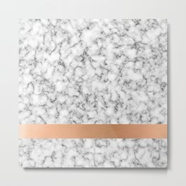 Marble and copper Metal Print