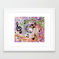 music notes Framed Art Prints featuring Music Notes by gretzky