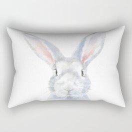 Gray Bunny Rabbit Watercolor Painting Rectangular Pillow