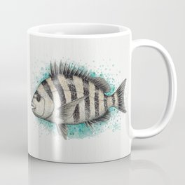 """Sheepshead Splash"" by Amber Marine ~ Watercolor Fish Painting (Copyright 2016) Coffee Mug"