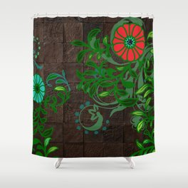 Floral - Florals - Flowers - Wood - Blues & Green Shower Curtain