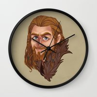 fili Wall Clocks featuring Fili - Dean O'gorman  by Blanca Limón