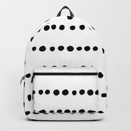 Spotted, Mudcloth, White and Black, Boho Print Backpack