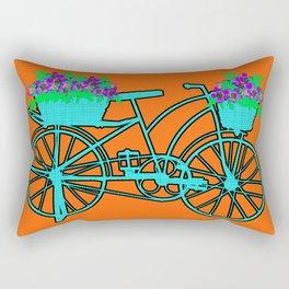 Pop Art Bike With Flower Basket Rectangular Pillow