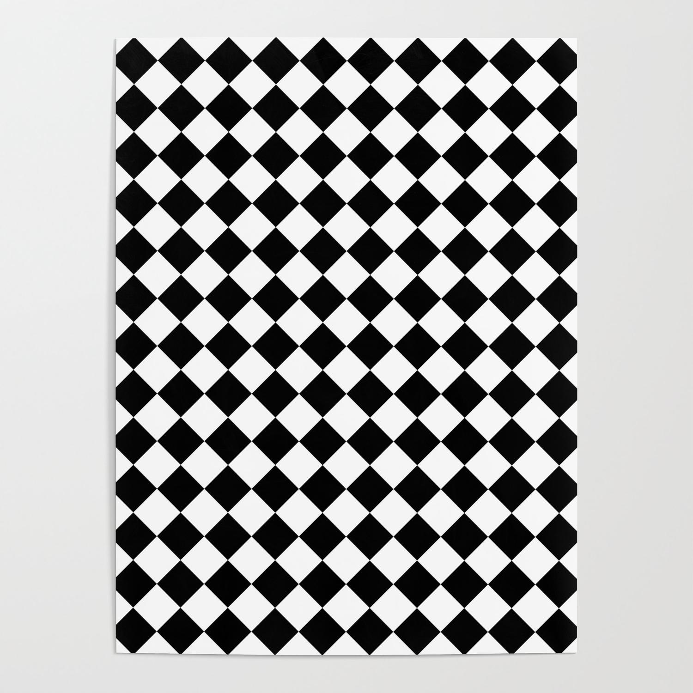 Schwarz Weiss Kariert 2 Poster By Falkofollert Society6