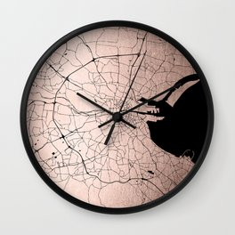 Dublin Street Map Rose Gold Wall Clock