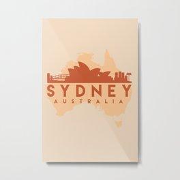 SYDNEY AUSTRALIA CITY MAP SKYLINE EARTH TONES Metal Print