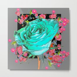TURQUOISE ROSE FLOWERS PINK-GREY DESIGN Metal Print