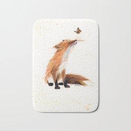 Monarch Fox - animal watercolor painting Bath Mat