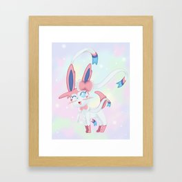 Sylveon in Pastel Space Framed Art Print