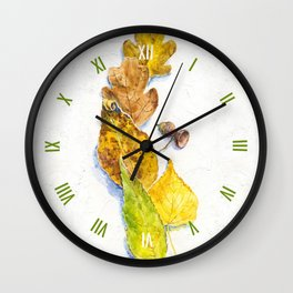 autumn leaves (watercolor on textured background) Wall Clock