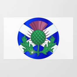 Scotish Flag And Thistle Button Rug