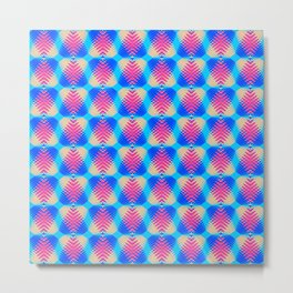 Pattern of blue hearts from the sky stripes on a yellow background in a bright intersection. Metal Print