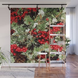 Frosted Christmas Tree with Holly Wall Mural