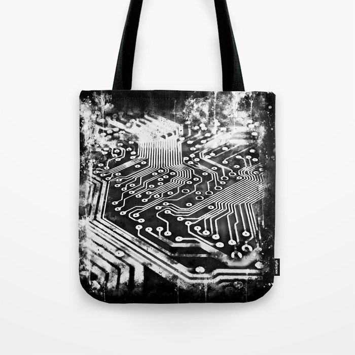 platine board conductor tracks splatter watercolor black white Tote Bag