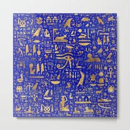 Ancient Egyptian hieroglyphs -Lapis Lazuli and Gold Metal Print