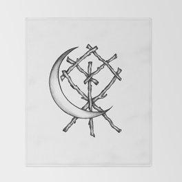 Crescent Moon Rune Binding Throw Blanket