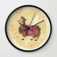 llama Wall Clocks featuring Llama by Juliana Cuervo