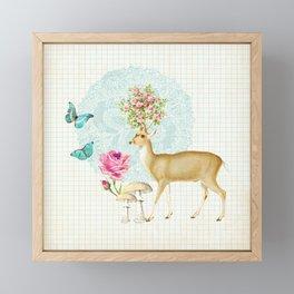 Deer rose Framed Mini Art Print