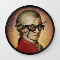 mozart Wall Clocks featuring Funny Hipster Mozart by Paul Stickland for StrangeStore