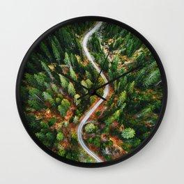 winding road aerial view Wall Clock