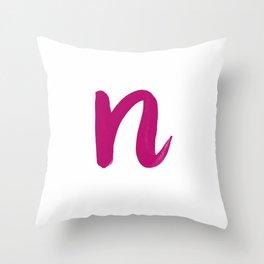 Scripted Monogram N Throw Pillow