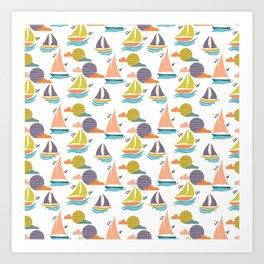 Sailing summer boats, in a seamless pattern Art Print