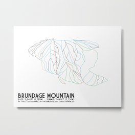 Brundage Mountain, ID - Minimalist Trial Art Metal Print