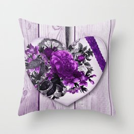 Violet heart | Coeur violet Throw Pillow