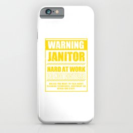 Janitor Hard At Work Cleaners Janitors Cleaning Gift iPhone Case