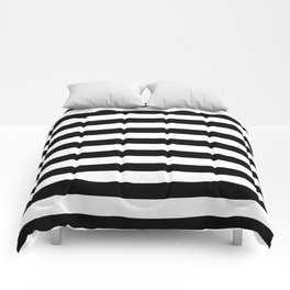Midnight Black and White Stripes Comforters