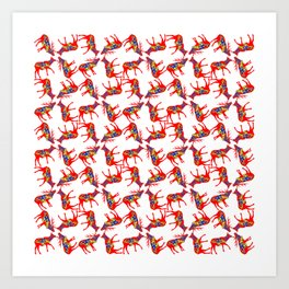 Graphic Dala Elk Pair Multiples Art Print