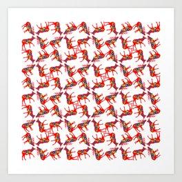 Graphic Elk 04 Swedish Dala Pair Multiples Art Print